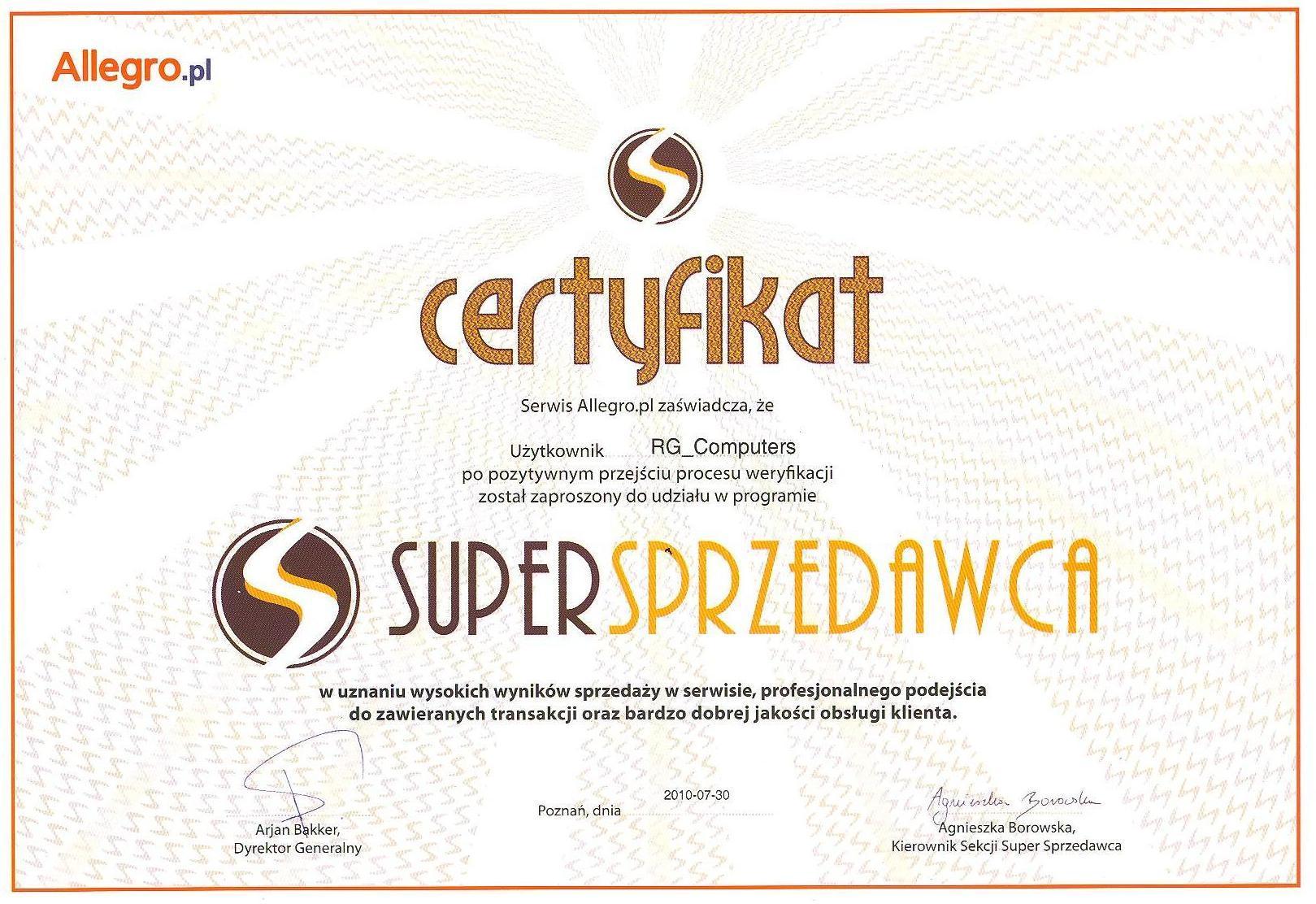 Certyfikat Super Sprzedawcy